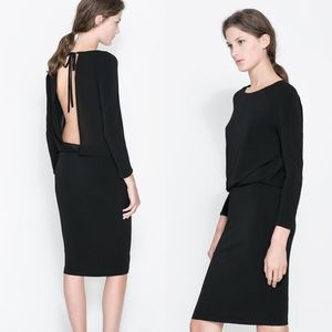 Zara Open Back Black Long Sleeve Dress Medium